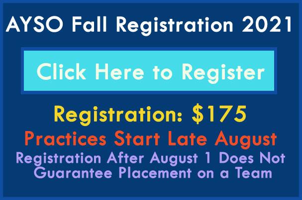 Register for Fall 2021 AYSO Soccer
