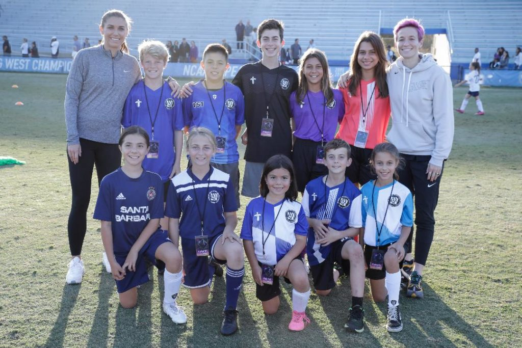 AYSO Santa Barbara kids meeting Alex Morgan & Megan Rapinoe - soccer superstars! Photo by Isaac Hernandez.